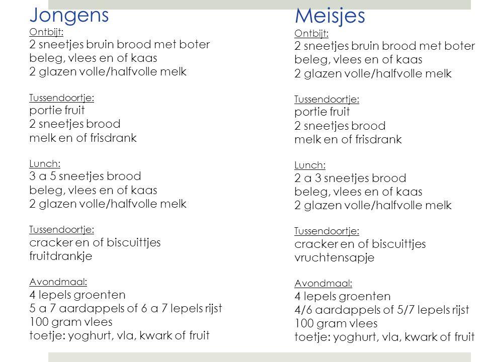 Jongens Ontbijt: 2 sneetjes bruin brood met boter beleg, vlees en of kaas 2 glazen volle/halfvolle melk Tussendoortje: portie fruit 2 sneetjes brood m