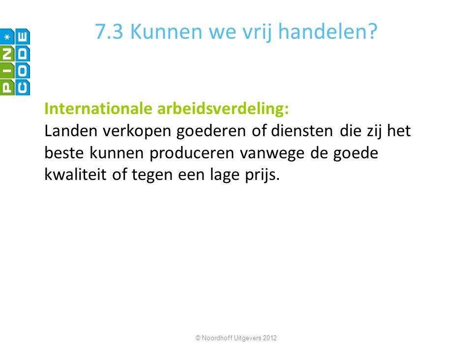 7.3 Kunnen we vrij handelen? Internationale arbeidsverdeling: Landen verkopen goederen of diensten die zij het beste kunnen produceren vanwege de goed