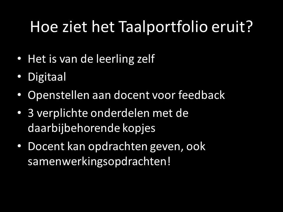 Hoe ziet het Taalportfolio eruit? Het is van de leerling zelf Digitaal Openstellen aan docent voor feedback 3 verplichte onderdelen met de daarbijbeho