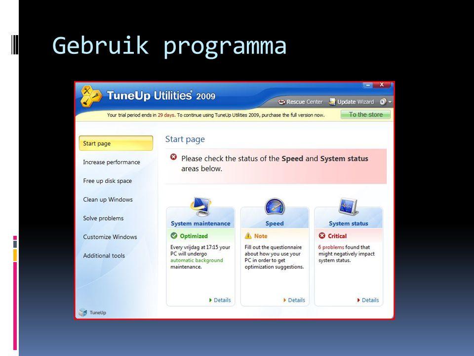Gebruik programma