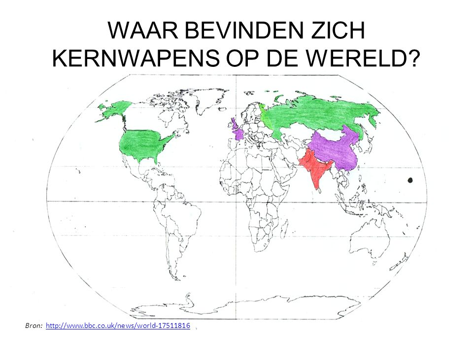 Land Aantal actieve kernwapens (totaal aantal) Jaar eerste kernproef Rusland4650 (12000)1949 Verenigde Staten2626 (9400)1945 Verenigd Koninkrijk<160 (185)1652 Frankrijk300 (300)1960 China180 (240)1964 IndiaOnbekend (60-80)1974 PakistanOnbekend (70-90)1998 IsraëlOnbekend (80)Onbekend Noord-KoreaOnbekend (<10)2006 Bron: http://vredessite.nl/kernwapens/factsheet.htmlhttp://vredessite.nl/kernwapens/factsheet.html