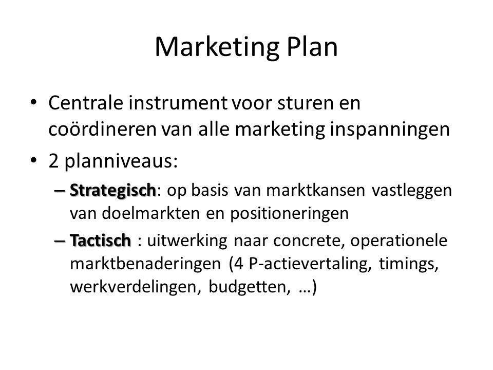 Marketing Plan Centrale instrument voor sturen en coördineren van alle marketing inspanningen 2 planniveaus: – Strategisch – Strategisch: op basis van