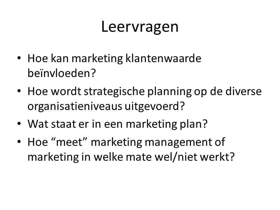 Leervragen Hoe kan marketing klantenwaarde beïnvloeden? Hoe wordt strategische planning op de diverse organisatieniveaus uitgevoerd? Wat staat er in e