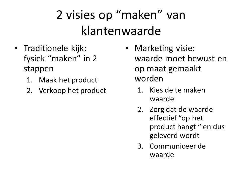 2 visies op maken van klantenwaarde Traditionele kijk: fysiek maken in 2 stappen 1.Maak het product 2.Verkoop het product Marketing visie: waarde moet bewust en op maat gemaakt worden 1.Kies de te maken waarde 2.Zorg dat de waarde effectief op het product hangt en dus geleverd wordt 3.Communiceer de waarde