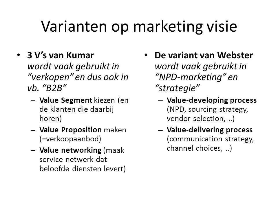 Varianten op marketing visie 3 V's van Kumar wordt vaak gebruikt in verkopen en dus ook in vb.