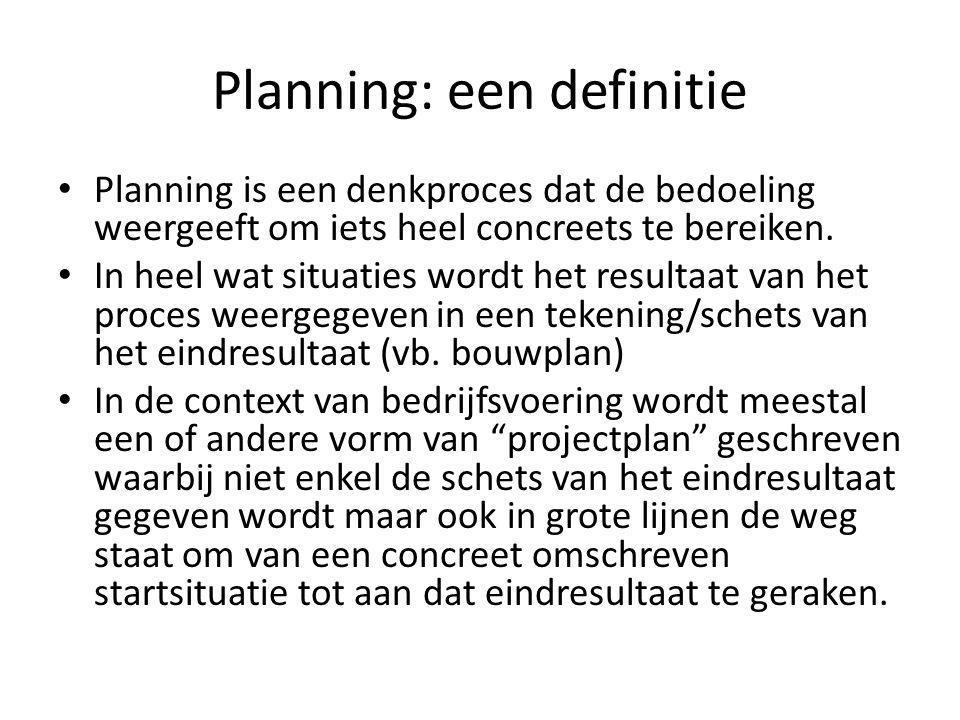 Planning: een definitie Planning is een denkproces dat de bedoeling weergeeft om iets heel concreets te bereiken. In heel wat situaties wordt het resu