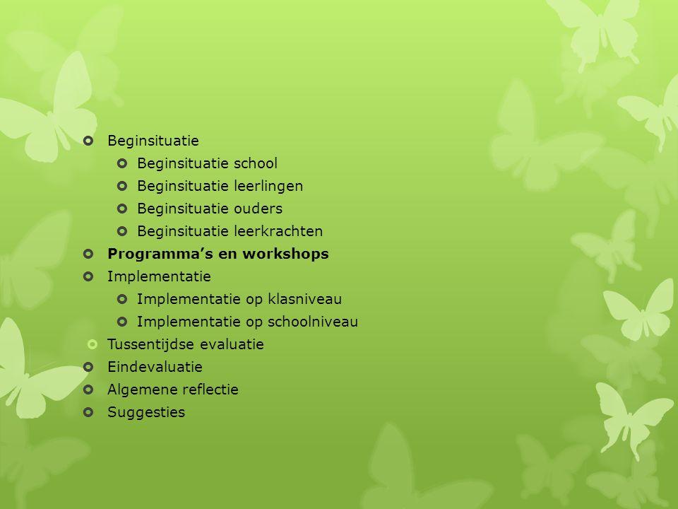  Beginsituatie  Beginsituatie school  Beginsituatie leerlingen  Beginsituatie ouders  Beginsituatie leerkrachten  Programma's en workshops  Implementatie  Implementatie op klasniveau  Implementatie op schoolniveau  Tussentijdse evaluatie  Eindevaluatie  Algemene reflectie  Suggesties