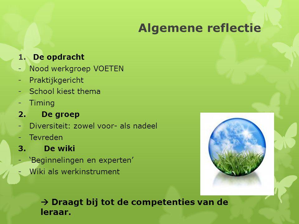 Algemene reflectie 1.De opdracht -Nood werkgroep VOETEN -Praktijkgericht -School kiest thema -Timing 2.