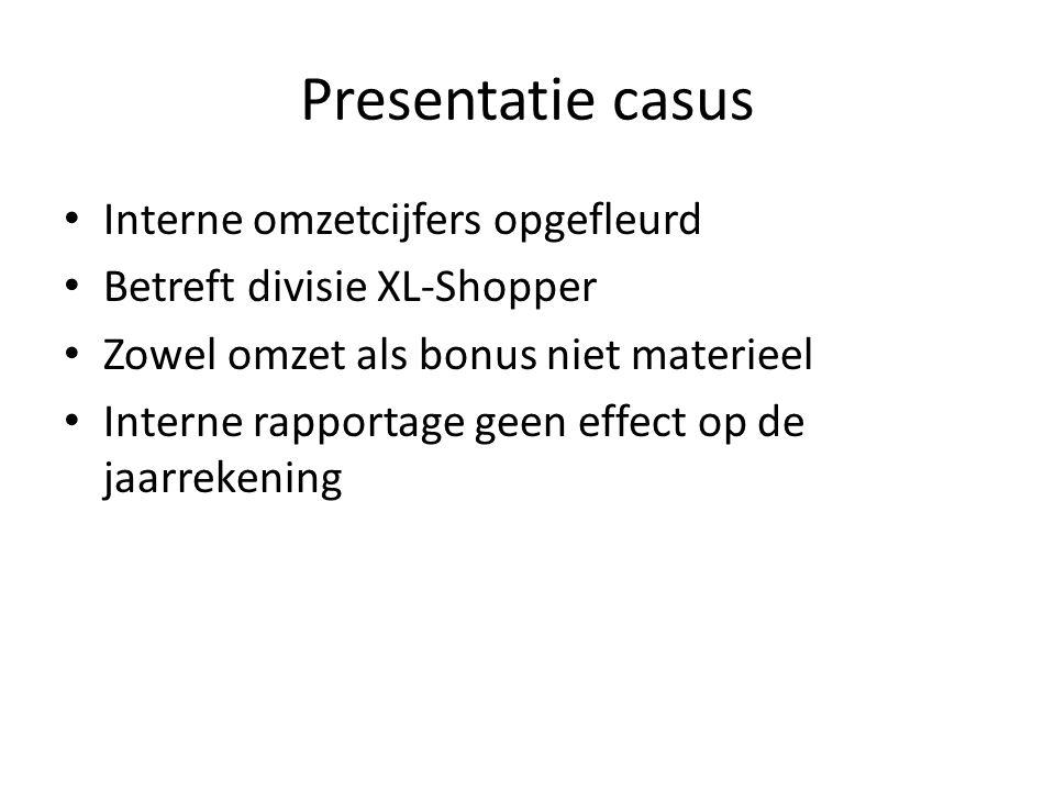 Presentatie casus Interne omzetcijfers opgefleurd Betreft divisie XL-Shopper Zowel omzet als bonus niet materieel Interne rapportage geen effect op de