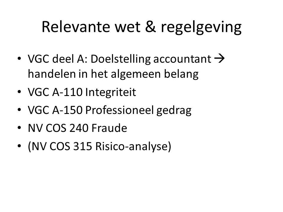 Relevante wet & regelgeving VGC deel A: Doelstelling accountant  handelen in het algemeen belang VGC A-110 Integriteit VGC A-150 Professioneel gedrag