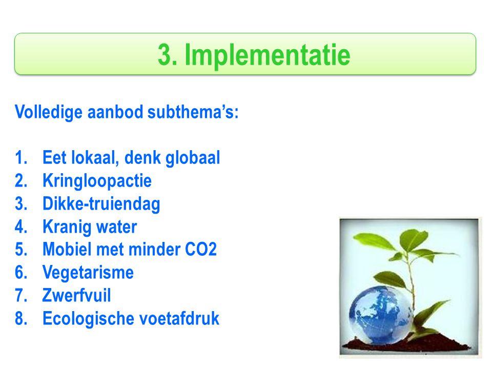 3. Implementatie Volledige aanbod subthema's: 1.Eet lokaal, denk globaal 2.Kringloopactie 3.Dikke-truiendag 4.Kranig water 5.Mobiel met minder CO2 6.V