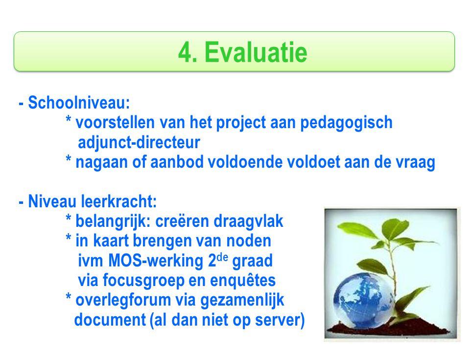 4. Evaluatie - Schoolniveau: * voorstellen van het project aan pedagogisch adjunct-directeur * nagaan of aanbod voldoende voldoet aan de vraag - Nivea