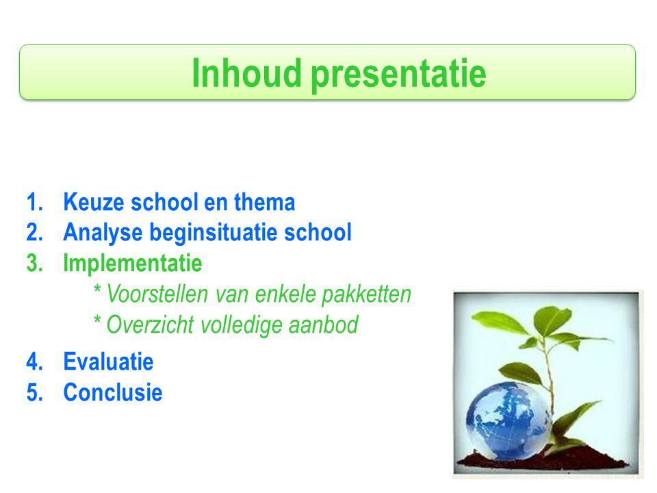 Inhoud presentatie 1.Keuze school en thema 2.Analyse beginsituatie school 3.Implementatie * Voorstellen van enkele pakketten * Overzicht volledige aanbod 4.Evaluatie 5.Conclusie