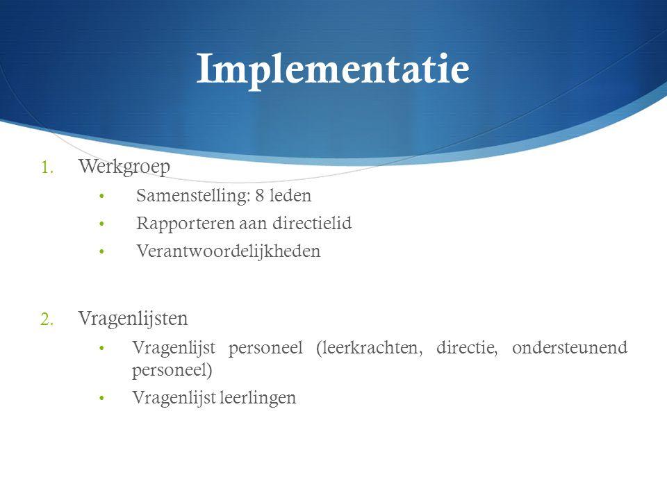 Implementatie 1. Werkgroep Samenstelling: 8 leden Rapporteren aan directielid Verantwoordelijkheden 2. Vragenlijsten Vragenlijst personeel (leerkracht