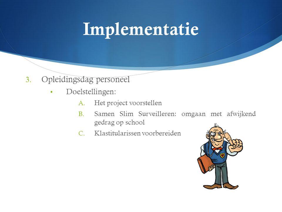 Implementatie 3. Opleidingsdag personeel Doelstellingen: A. Het project voorstellen B. Samen Slim Surveilleren: omgaan met afwijkend gedrag op school