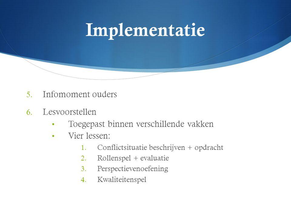 Implementatie 5. Infomoment ouders 6. Lesvoorstellen Toegepast binnen verschillende vakken Vier lessen: 1. Conflictsituatie beschrijven + opdracht 2.