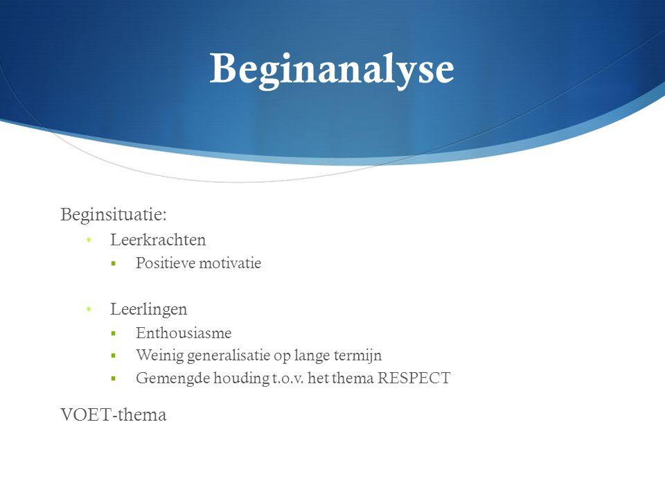 Beginanalyse Beginsituatie: Leerkrachten  Positieve motivatie Leerlingen  Enthousiasme  Weinig generalisatie op lange termijn  Gemengde houding t.