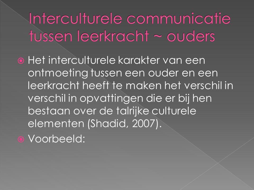  Het interculturele karakter van een ontmoeting tussen een ouder en een leerkracht heeft te maken het verschil in verschil in opvattingen die er bij hen bestaan over de talrijke culturele elementen (Shadid, 2007).
