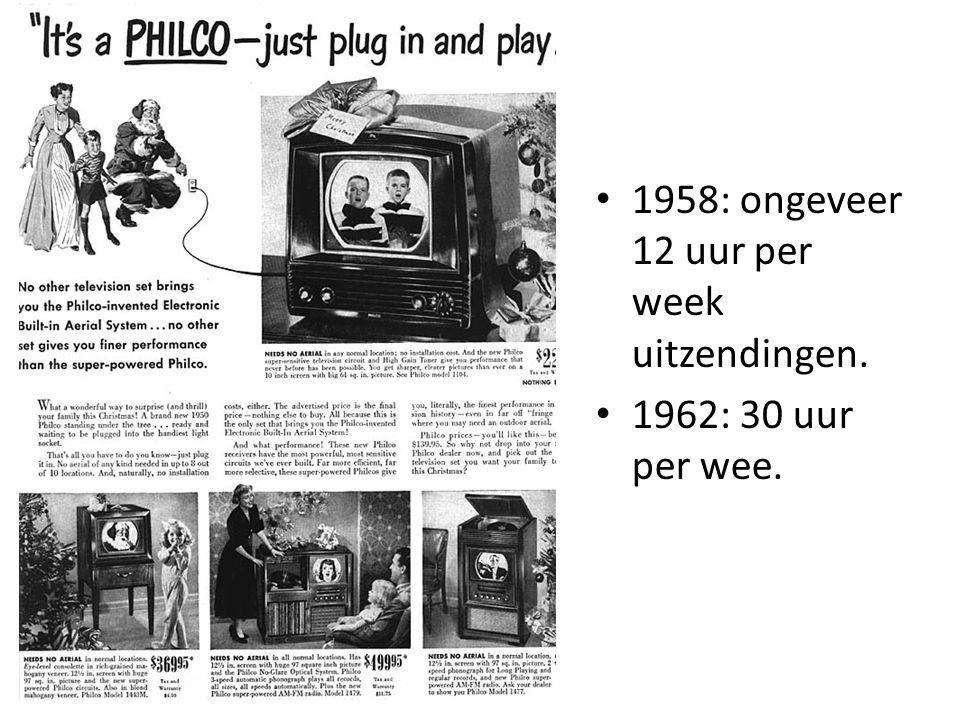 1958: ongeveer 12 uur per week uitzendingen. 1962: 30 uur per wee.
