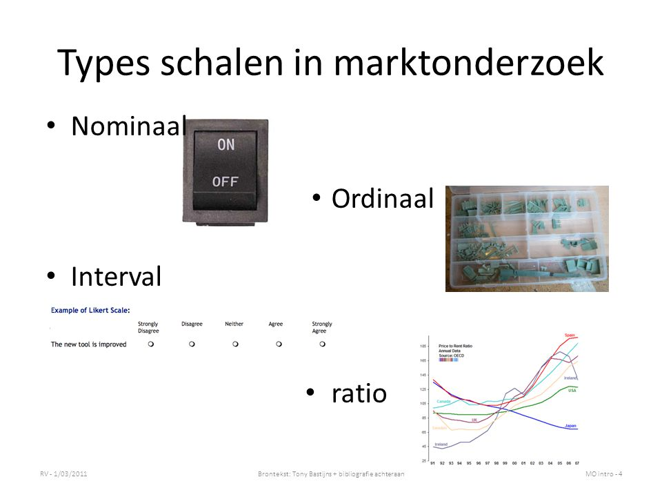 Types schalen in marktonderzoek Nominaal Ordinaal Interval ratio RV - 1/03/2011Brontekst: Tony Bastijns + bibliografie achteraanMO intro - 4