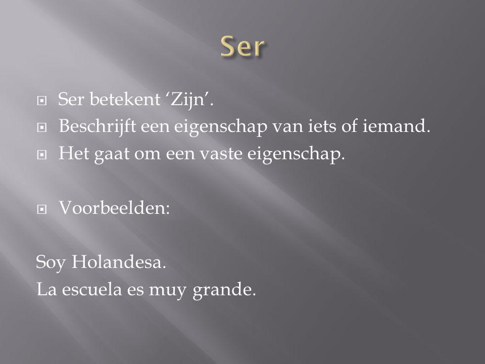  Ser betekent 'Zijn'.  Beschrijft een eigenschap van iets of iemand.  Het gaat om een vaste eigenschap.  Voorbeelden: Soy Holandesa. La escuela es