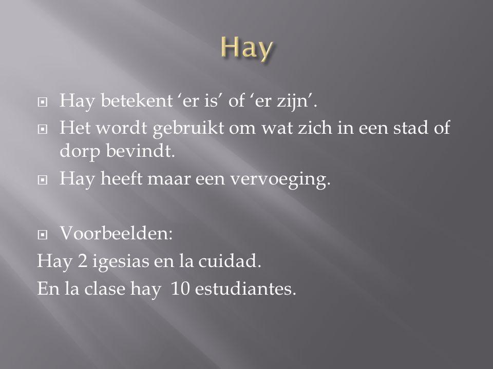  Hay betekent 'er is' of 'er zijn'.  Het wordt gebruikt om wat zich in een stad of dorp bevindt.  Hay heeft maar een vervoeging.  Voorbeelden: Hay