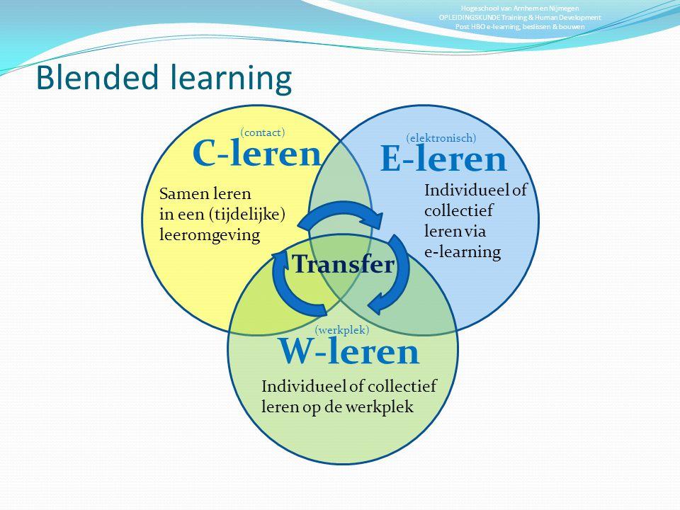 Hogeschool van Arnhem en Nijmegen OPLEIDINGSKUNDE Training & Human Development Post HBO e-learning, beslissen & bouwen Blended learning C-leren E-lere
