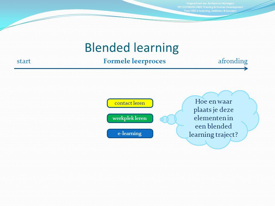 Hogeschool van Arnhem en Nijmegen OPLEIDINGSKUNDE Training & Human Development Post HBO e-learning, beslissen & bouwen Blended learning Formele leerpr