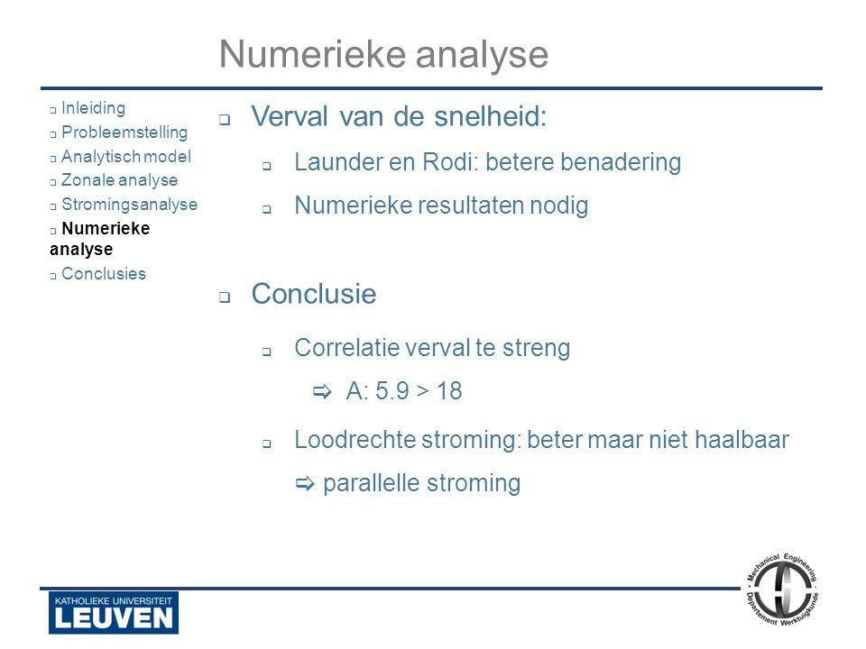 Analyse - luchtstroming - droogoven – lijmstraat - Polyvision Numerieke analyse  Verval van de snelheid:  Launder en Rodi: betere benadering  Numer