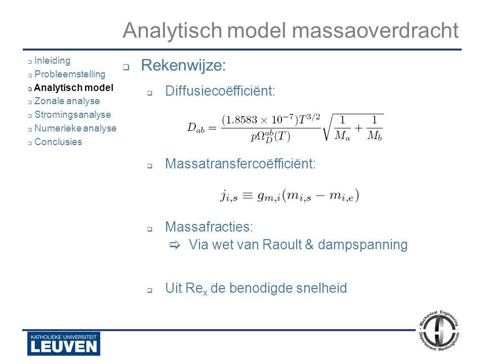 Analyse - luchtstroming - droogoven – lijmstraat - Polyvision Analytisch model massaoverdracht  Rekenwijze:  Diffusiecoëfficiënt:  Massatransfercoë