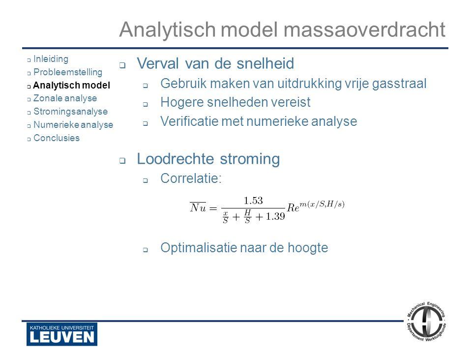 Analyse - luchtstroming - droogoven – lijmstraat - Polyvision Analytisch model massaoverdracht  Verval van de snelheid  Gebruik maken van uitdrukkin