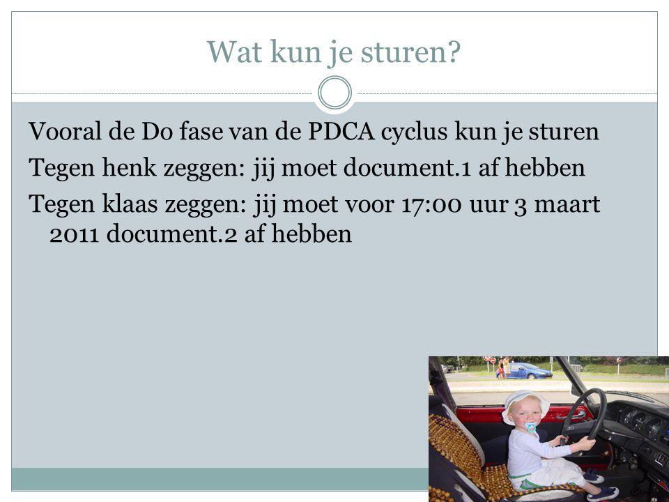 Wat kun je sturen? Vooral de Do fase van de PDCA cyclus kun je sturen Tegen henk zeggen: jij moet document.1 af hebben Tegen klaas zeggen: jij moet vo