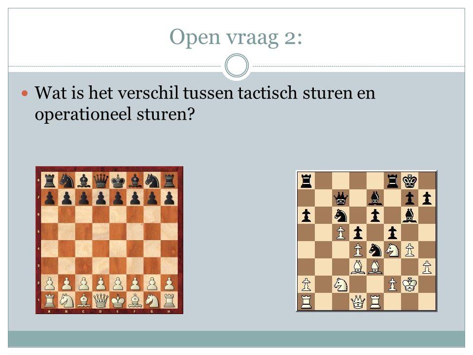 Open vraag 2: Wat is het verschil tussen tactisch sturen en operationeel sturen?