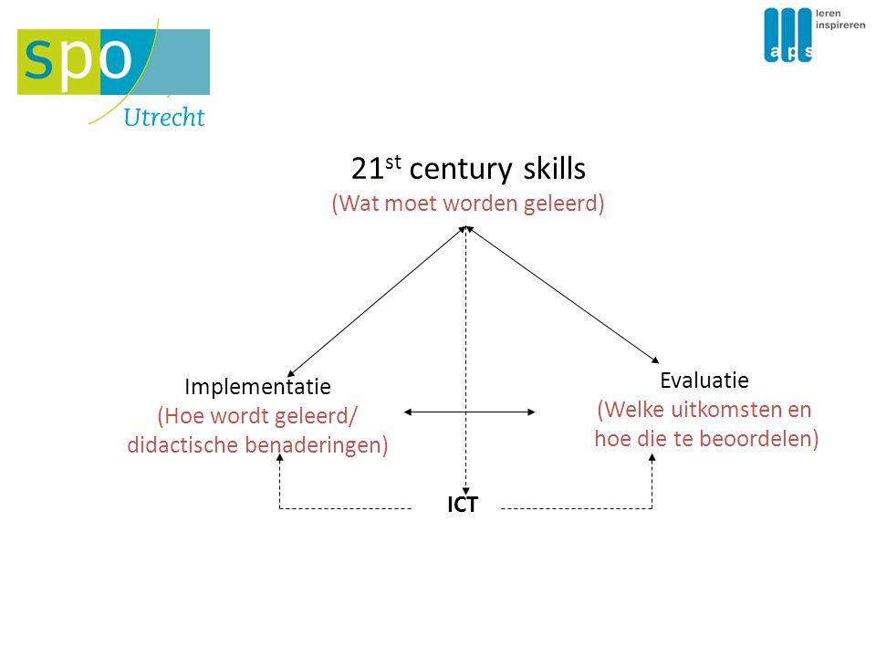 21 st century skills (Wat moet worden geleerd) Implementatie (Hoe wordt geleerd/ didactische benaderingen) Evaluatie (Welke uitkomsten en hoe die te b