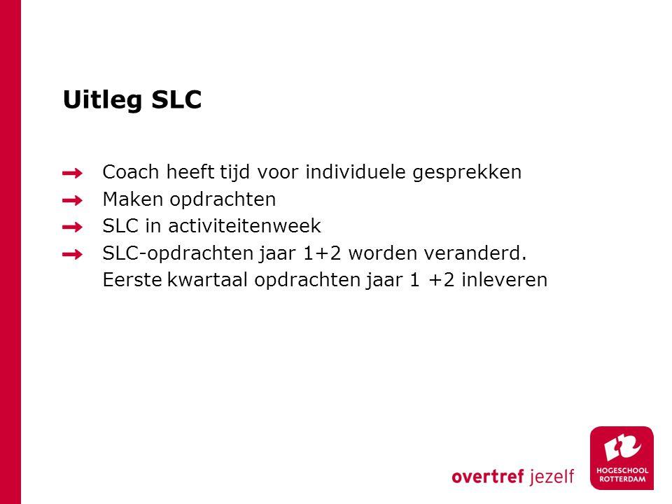 Uitleg SLC Coach heeft tijd voor individuele gesprekken Maken opdrachten SLC in activiteitenweek SLC-opdrachten jaar 1+2 worden veranderd. Eerste kwar