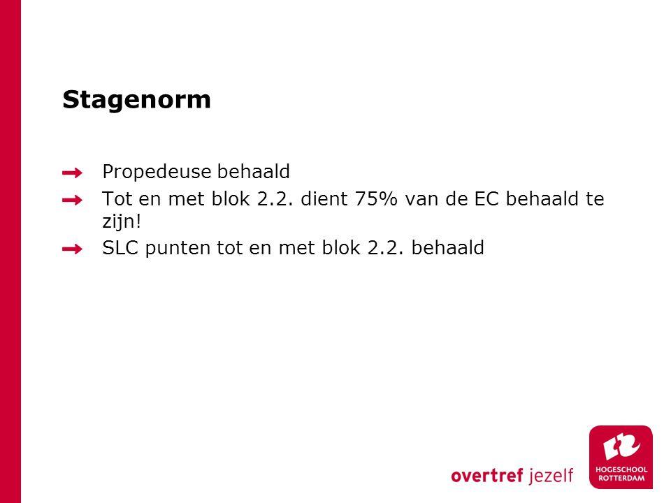Stagenorm Propedeuse behaald Tot en met blok 2.2. dient 75% van de EC behaald te zijn! SLC punten tot en met blok 2.2. behaald