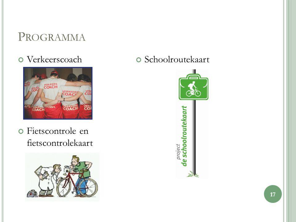 P ROGRAMMA Verkeerscoach Fietscontrole en fietscontrolekaart Schoolroutekaart 17