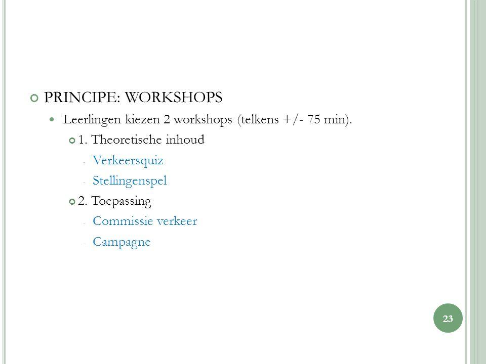 PRINCIPE: WORKSHOPS Leerlingen kiezen 2 workshops (telkens +/- 75 min).