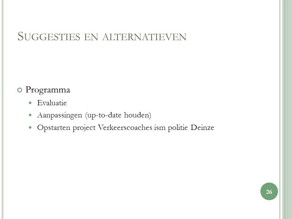 S UGGESTIES EN ALTERNATIEVEN Programma Evaluatie Aanpassingen (up-to-date houden) Opstarten project Verkeerscoaches ism politie Deinze 26