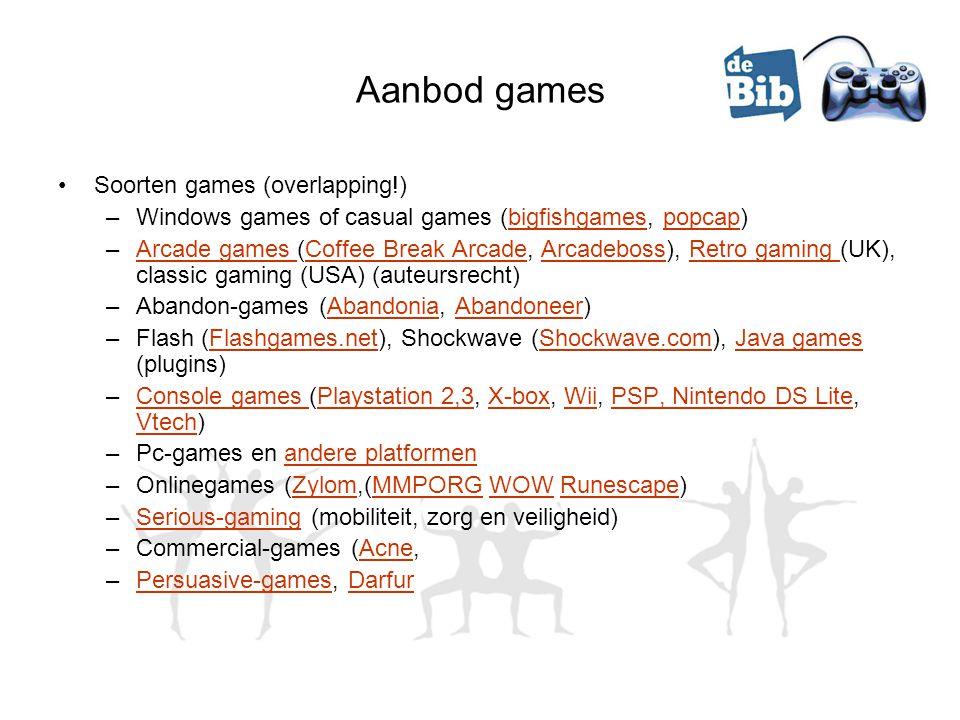 Aanbod games Soorten games (overlapping!) –Windows games of casual games (bigfishgames, popcap)bigfishgamespopcap –Arcade games (Coffee Break Arcade,