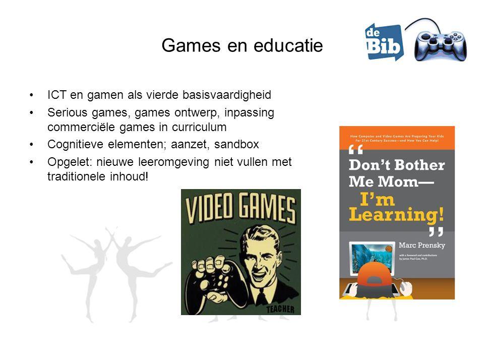 Games en educatie ICT en gamen als vierde basisvaardigheid Serious games, games ontwerp, inpassing commerciële games in curriculum Cognitieve elementen; aanzet, sandbox Opgelet: nieuwe leeromgeving niet vullen met traditionele inhoud!