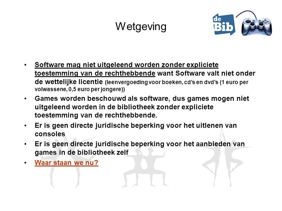 Wetgeving Software mag niet uitgeleend worden zonder expliciete toestemming van de rechthebbende want Software valt niet onder de wettelijke licentie (leenvergoeding voor boeken, cd's en dvd's (1 euro per volwassene, 0,5 euro per jongere)) Games worden beschouwd als software, dus games mogen niet uitgeleend worden in de bibliotheek zonder expliciete toestemming van de rechthebbende.
