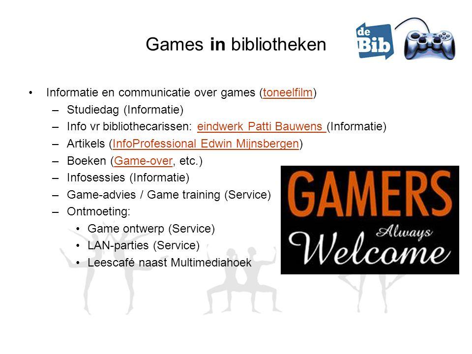 Games in bibliotheken Informatie en communicatie over games (toneelfilm)toneelfilm –Studiedag (Informatie) –Info vr bibliothecarissen: eindwerk Patti