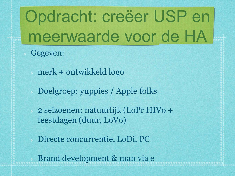 Opdracht: creëer USP en meerwaarde voor de HA Gegeven: merk + ontwikkeld logo Doelgroep: yuppies / Apple folks 2 seizoenen: natuurlijk (LoPr HIVo + feestdagen (duur, LoVo) Directe concurrentie, LoDi, PC Brand development & man via e
