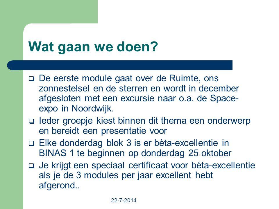 22-7-2014 Wat gaan we doen?  De eerste module gaat over de Ruimte, ons zonnestelsel en de sterren en wordt in december afgesloten met een excursie na