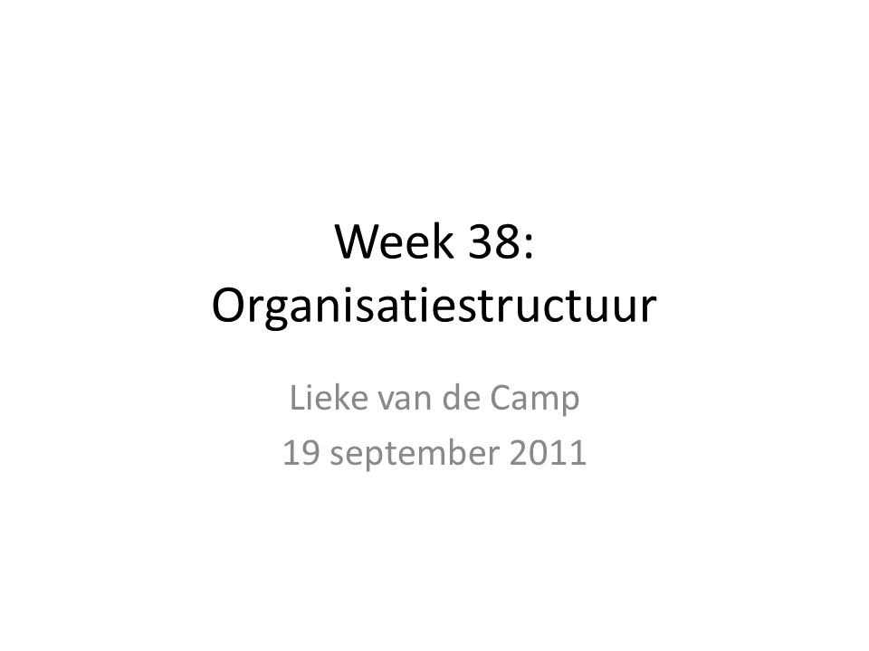 Week 38: Organisatiestructuur Lieke van de Camp 19 september 2011