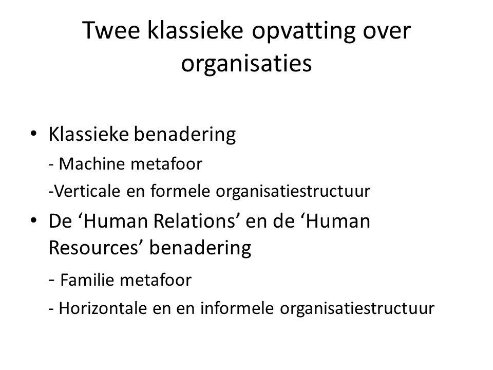 Twee klassieke opvatting over organisaties Klassieke benadering - Machine metafoor -Verticale en formele organisatiestructuur De 'Human Relations' en de 'Human Resources' benadering - Familie metafoor - Horizontale en en informele organisatiestructuur