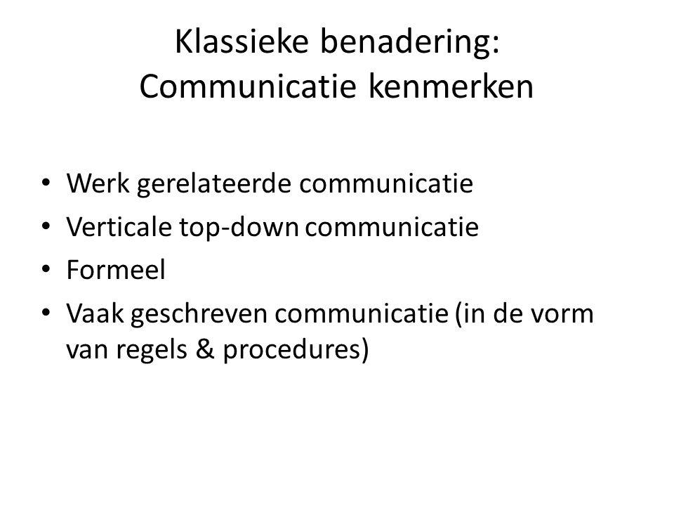 Klassieke benadering: Communicatie kenmerken Werk gerelateerde communicatie Verticale top-down communicatie Formeel Vaak geschreven communicatie (in de vorm van regels & procedures)