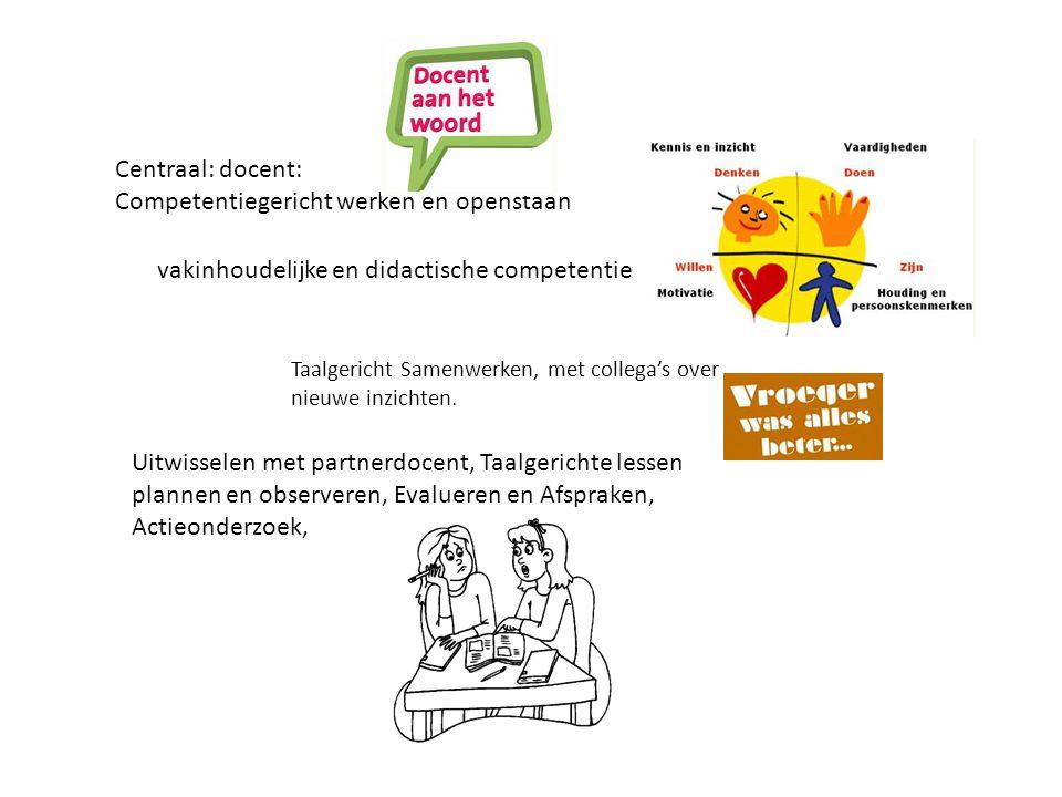 Centraal: docent: Competentiegericht werken en openstaan vakinhoudelijke en didactische competentie Taalgericht Samenwerken, met collega's over nieuwe inzichten.