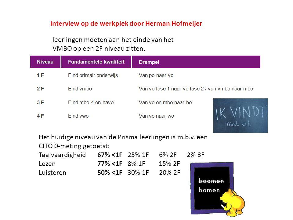 Interview op de werkplek door Herman Hofmeijer leerlingen moeten aan het einde van het VMBO op een 2F niveau zitten. Het huidige niveau van de Prisma